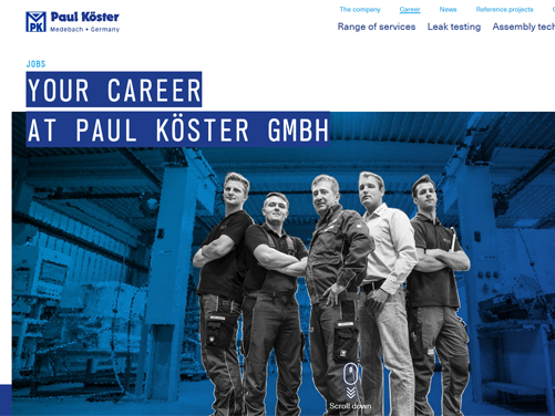 Company Paul Köster relies on online applications